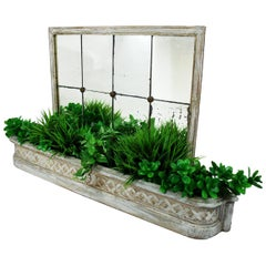 Antique French Painted Wood Planter Mirrored Jardinière Distressed White