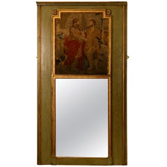 French Trumeau Mirror In Carved And Painted Wood Circa