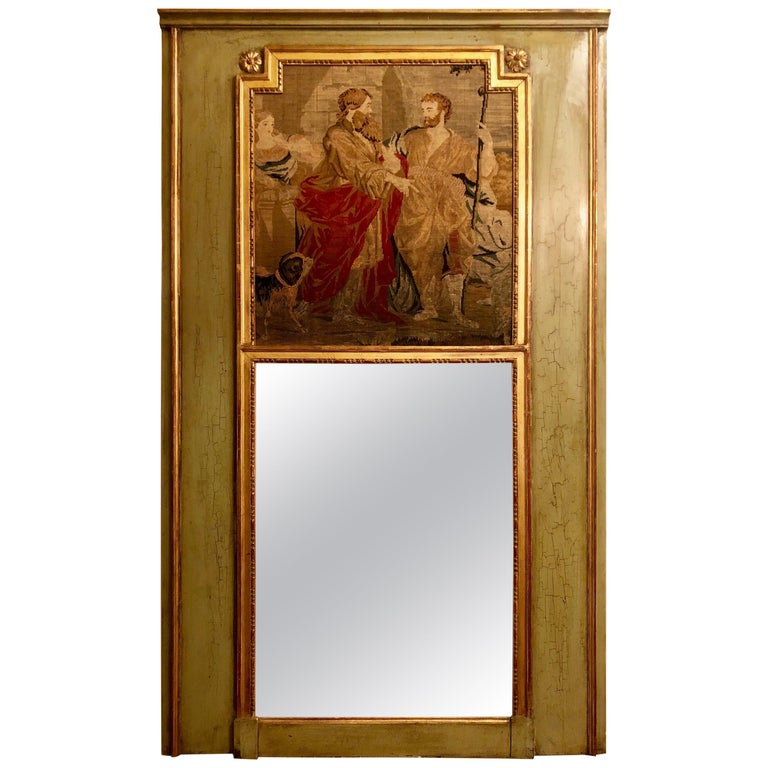 Antique French Painted Wood Trumeau Mirror with Tapestry For Sale