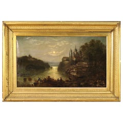 Antique French Painting Night Landscape from the 19th Century