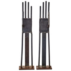 Antique French Pair of Glove Molds in Metal