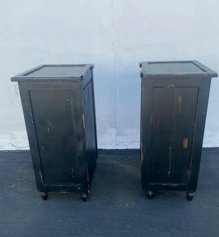 Wood Antique French Pair of Night Stands For Sale