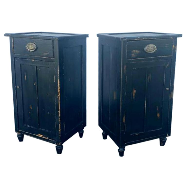 Antique French Pair of Night Stands For Sale