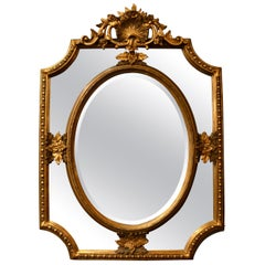 Antique French Paneled Mirror with Beveling and Gold Leaf Wood Frame, circa 1890