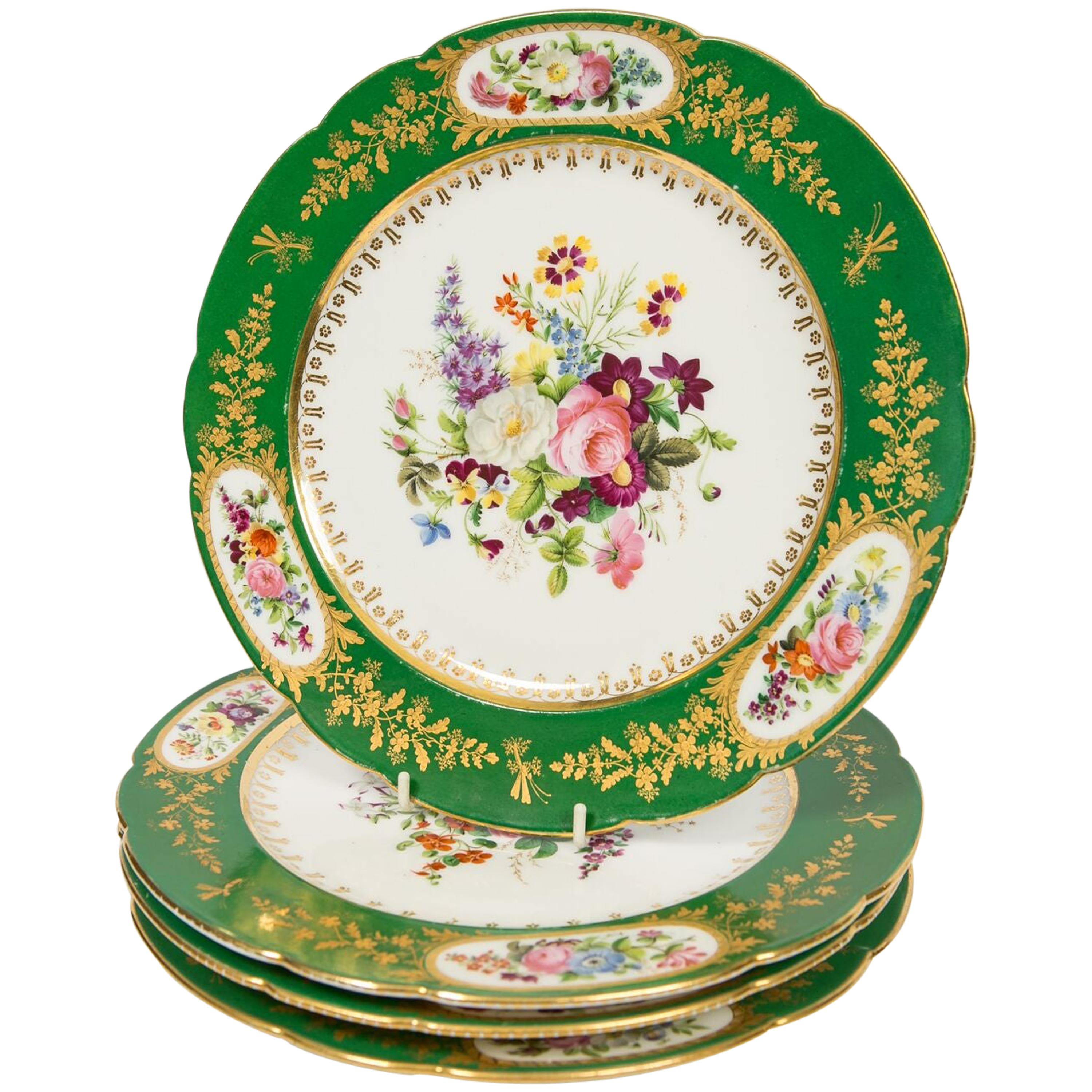 Antique French Paris Porcelain Dishes a Set of Four, Early 19th Century