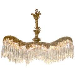 Antique French Parisian Design Gold Bronze & Crystal Palm Chandelier, circa 1910