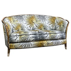 Antique French Parlour Settee in Tropics 'Fan Palm' Fabric