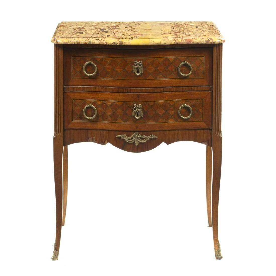 Antique French Parquetry and Marble Top Side Table