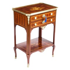 French Parquetry and Marquetry Table En Chiffonière Work Table, 19th Century