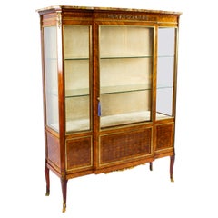 Antique French Parquetry Ormolu Mounted Vitrine Cabinet 19th C