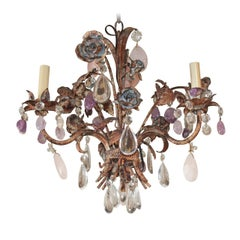 Antique French Patinated Iron and Crystal Chandelier