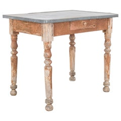 Antique French Patinated Table with Zinc Tabletop