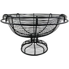 Antique French Pedestal Urn Hand Made Black Twisted Wire Basket, Late 19th C