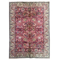 Antique French Persian Design Knotted Rug