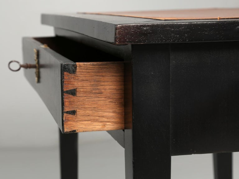 Antique French Petite Ebonized Ladies Writing Table, or Small Side Table or Desk For Sale 6