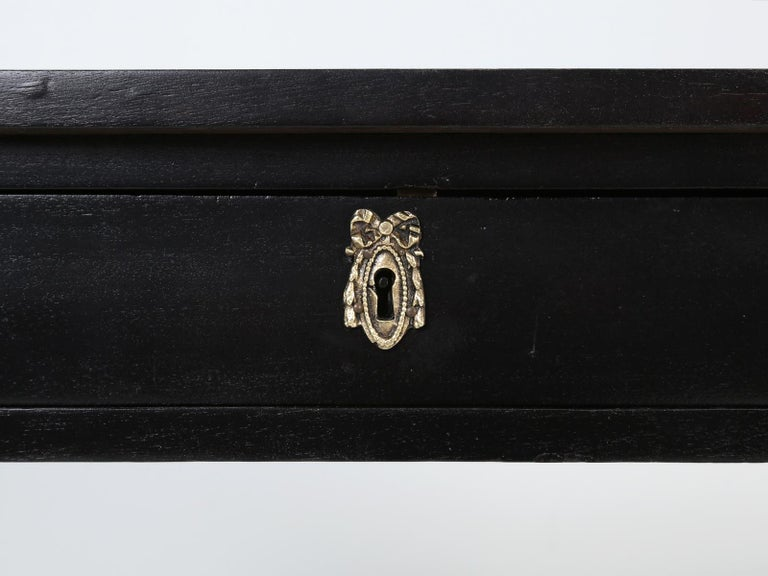 Antique French Petite Ebonized Ladies Writing Table, or Small Side Table or Desk For Sale 8