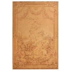 Antique French Pictorial Cream Beige Wool Tapestry Rug