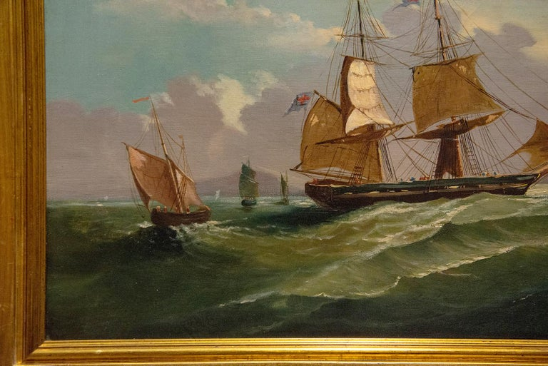 Beaux Arts Antique French Picture Marine Waves with Sails For Sale