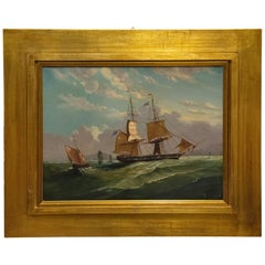 Antique French Picture Marine Waves with Sails