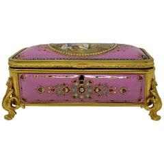 Antique French Pink Enameled Ormolu Box, circa 1860-1870