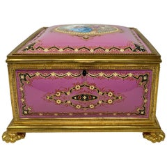Antique French Pink Enameled Ormolu Jewel Box, circa 1870