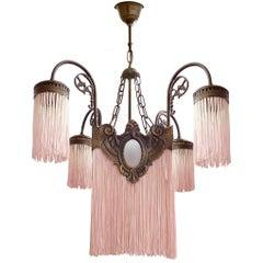 Antique French Pink Fringes and Bronze Art Nouveau/Art Deco Chandelier