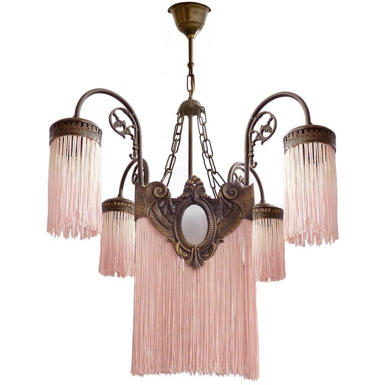 Antique Art Deco/Nouveau French Pink Fringes Hollywood Regency Bronze  Chandelier For Sale - Antique Art Deco/Nouveau French Pink Fringes Hollywood Regency
