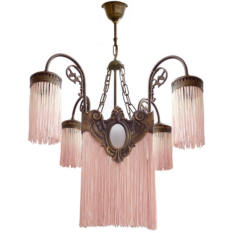 Antique Art Deco/Nouveau French Pink Fringes Hollywood Regency Bronze Chandelier