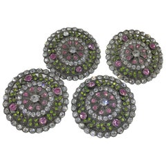Antique French Pink Green Paste Buttons