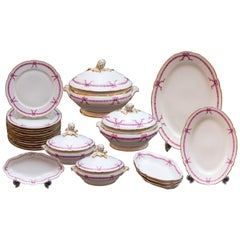 Antique French Pink Ribbon 22-Piece Dinner Set