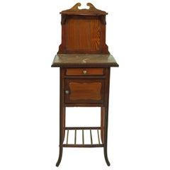 Antique French Pitch Pine, Walnut Marble Top Nightstand, France 1900, 1671