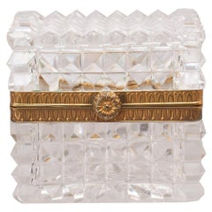 Antique French Pointed Cut Crystal Box with Bronze Mounts