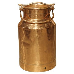 Antique French Polished Copper Milk Container, Late 19th Century