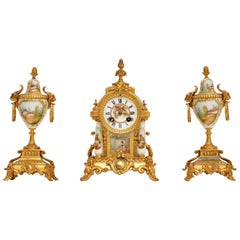 Antique French Porcelain and Gilt Mantel Clock Set