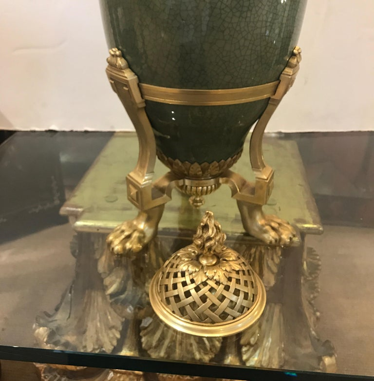 Antique French Porcelain and Ormolu Mounted Large Covered Urn For Sale 8
