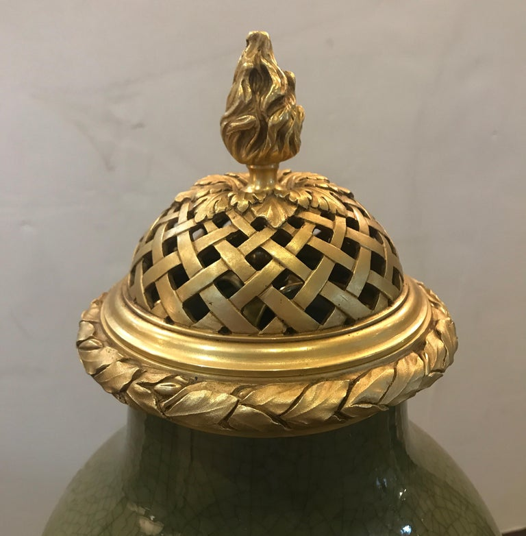 Antique French Porcelain and Ormolu Mounted Large Covered Urn For Sale 1