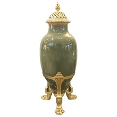 Antique French Porcelain and Ormolu Mounted Large Covered Urn