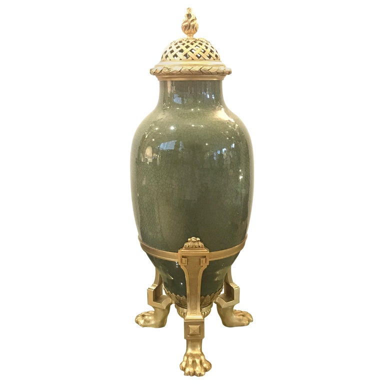 Antique French Porcelain and Ormolu Mounted Large Covered Urn For Sale