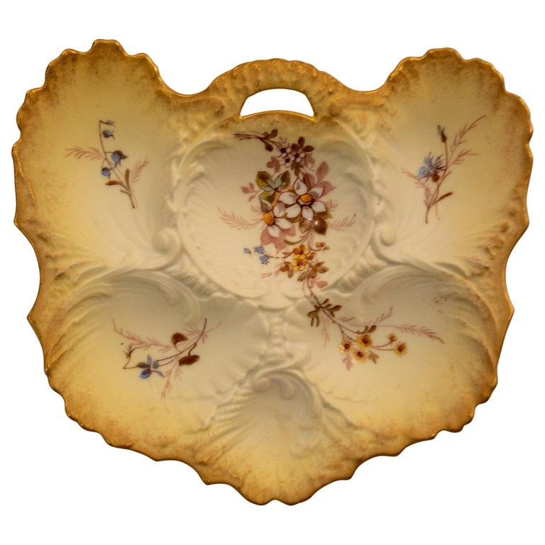 Antique French Porcelain Limoges Oyster Plate, circa 1900 For Sale