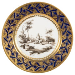 Antique French Porcelain Plate with Children Playing & Cobalt Blue circa 1800