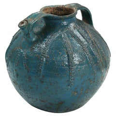 Antique French Pottery Walnut Jar Is a Rare Blue Color with No Prior Repairs