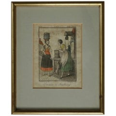 Antique French Print, Servantes de Strasbourg