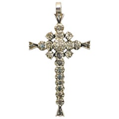 Antique French Provençal Diamond Cross Pendant Silver