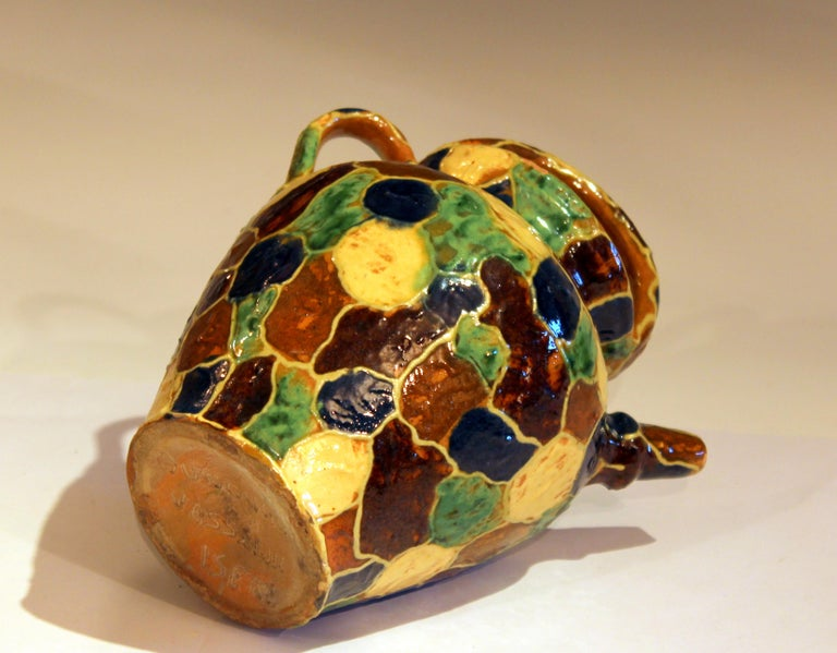 Antique French Provence Country Pottery Irese Signed Vase Confit Pot Jug In Good Condition For Sale In Wilton, CT