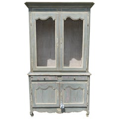 Antique French Provincial Buffet Deux Corps Grillage Cupboard Cabinet