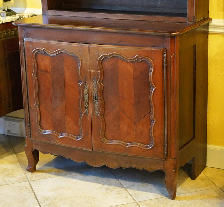Antique French Provincial Carved Fruitwood Stepped Buffet, Early 19th Century In Good Condition For Sale In Ft. Lauderdale, FL