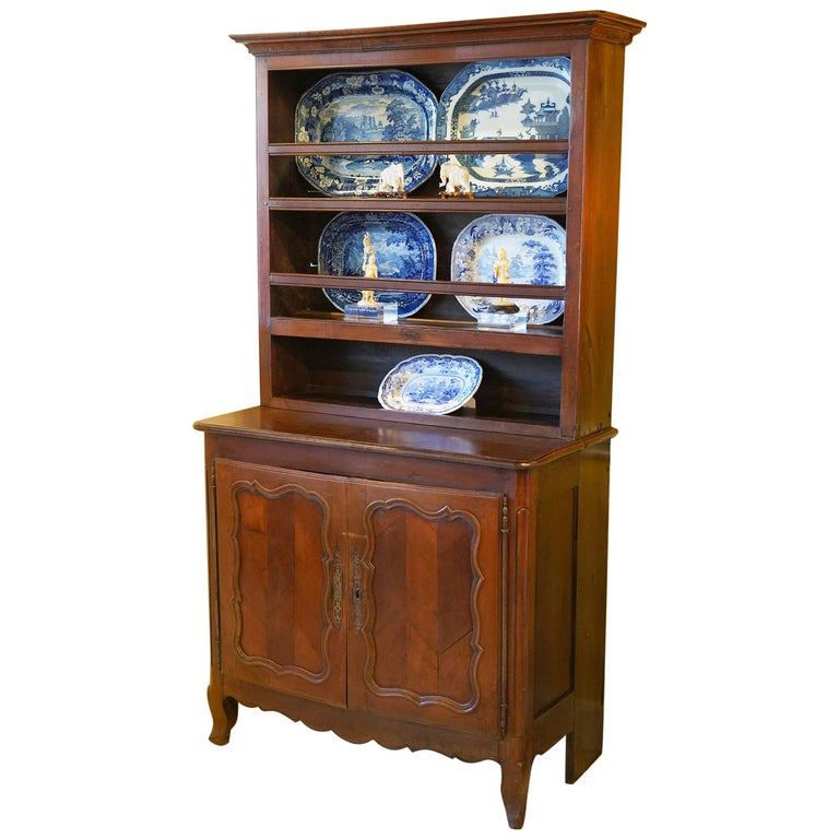 Antique French Provincial Carved Fruitwood Stepped Buffet, Early 19th Century For Sale