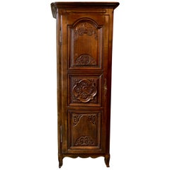 """Antique French Provincial Carved Walnut """"Bonnetiere"""" Single Door Armoire Ca 1890"""