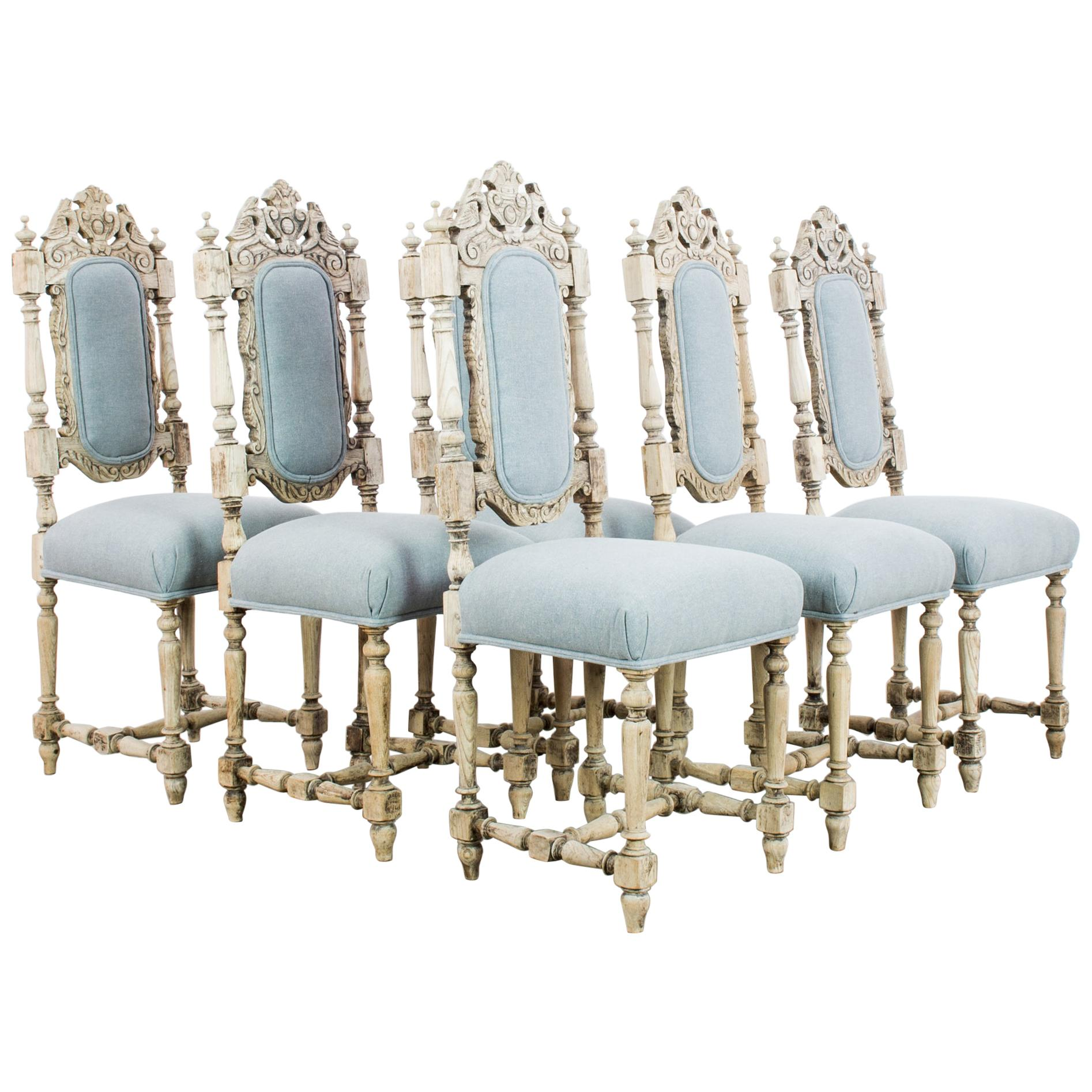 Antique French Provincial Dining Chairs, Set of Six