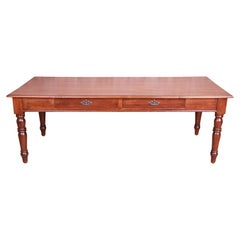 Antique French Provincial Elm Wood Harvest Farm Table With Drawers, Circa 1900